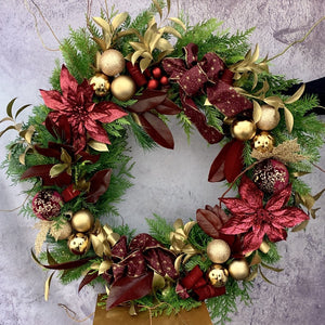 XMAS-1006 BURGUNDY AND DARK GOLD FRESH WREATH - Petalino Flower Bar & Events