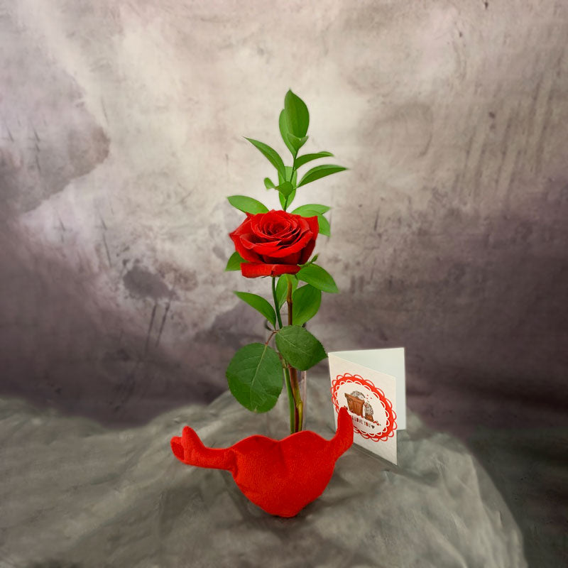 Single rose and hug heart plush toy valentines day