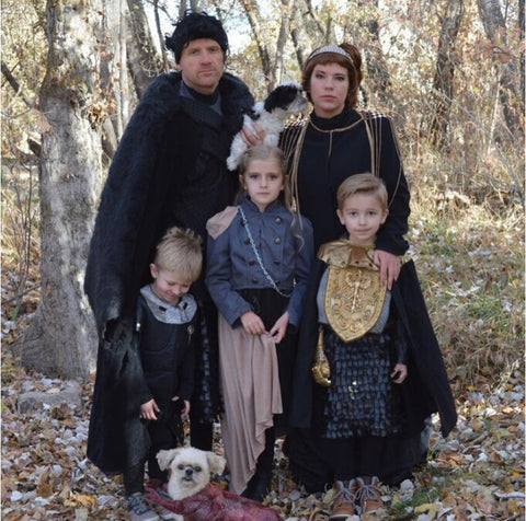 Owner of NicheandCo, Niesha Peterson, with her family in Halloween costumes