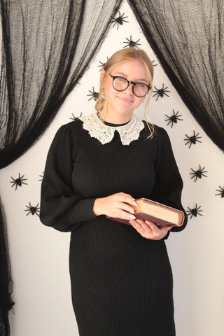 Easy costume with normal clothes idea: Ruth Ginsburg Halloween costume in a black Niche+Co sweater dress