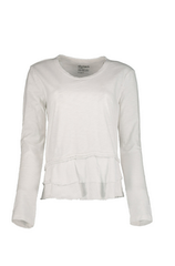SOFT SLUB RAW HEM RUFFLE TOP