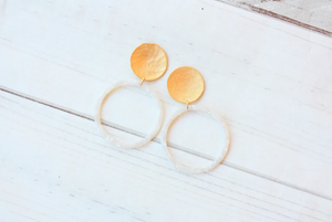 DISC POST WITH ACRYLIC CIRCLE EARRING