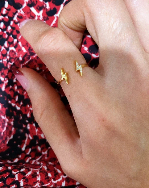 MINI DOUBLE LIGHTNING BOLT RING