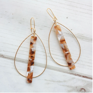 ACRYLIC BAR ON DOUBLE BALE HOOP EARRINGS