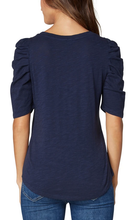 Load image into Gallery viewer, GATHERED SHORT SLEEVE KNIT TEE