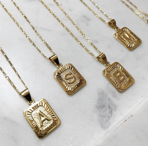 GOLD FILLED INITIAL CARD NECKLACE
