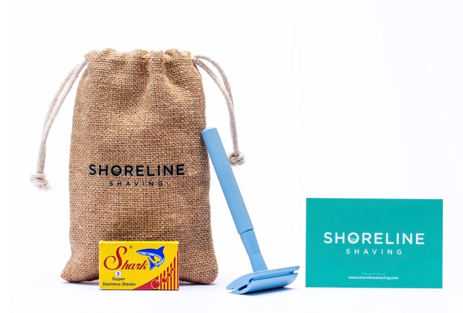 Shoreline Shaving Pale Blue Reusable Safety Razor with Blades & Hessian Bag