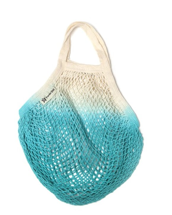 Turtle Bags - Organic Turquoise Dip Dye Short Handled String Bag