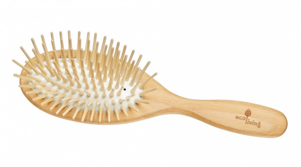 Oval Hairbrush with Extra-Long Wooden Pins