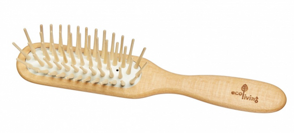 Rectangular Hairbrush with Extra-Long Wooden Pins