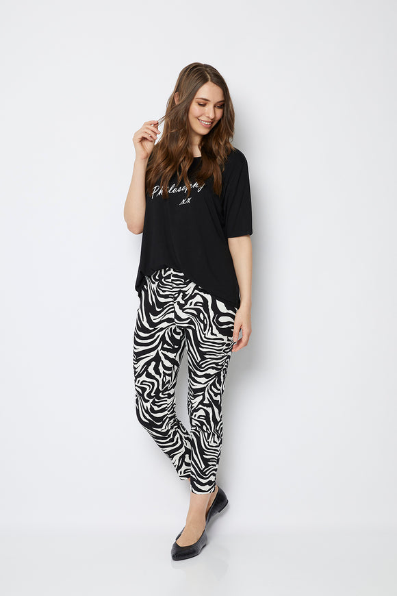Easy 7/8 Printed Pants - White Zebra
