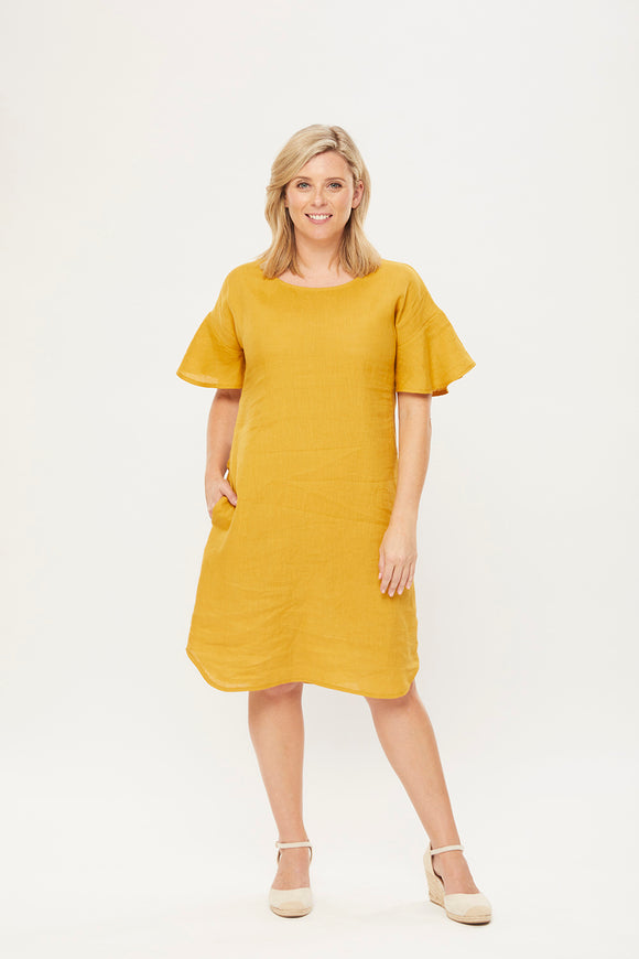 Molly Shift Dress in Gold Linen
