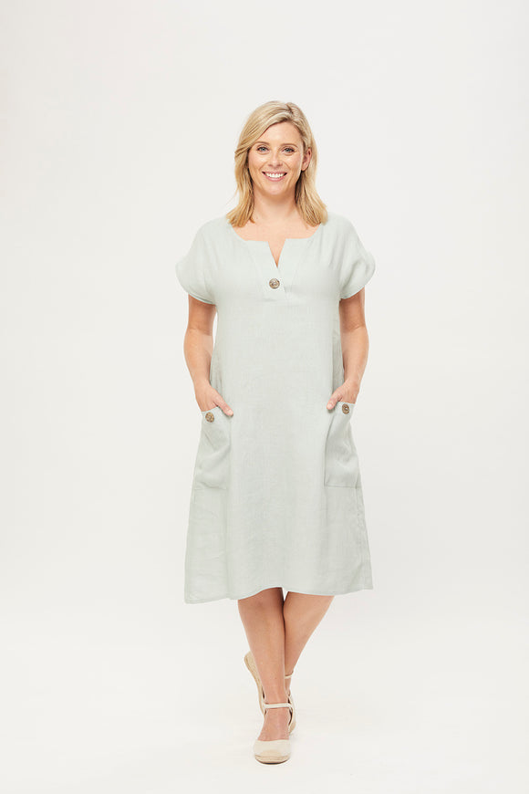 Taylor Shift Dress in Sage Linen