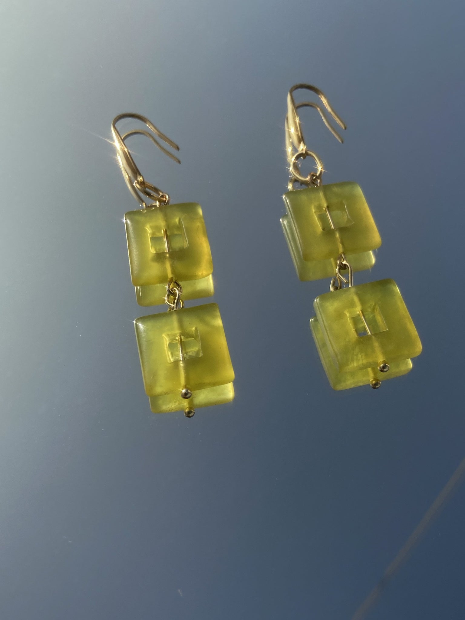 Louise earrings - green jade