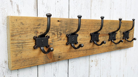 Reclaimed Victorian boards Coat and Hat Rack with Number hooks No 1-5 waxed wood