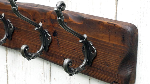 Handmade Reclaimed Wood Cottage Country Vintage style Coat & Hat Rack with Ornate decor hooks