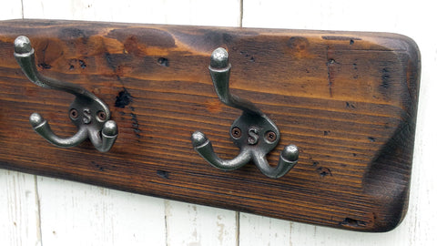 Handmade Reclaimed Wood Cottage Country Vintage style Coat & Hat Rack with Triple hooks