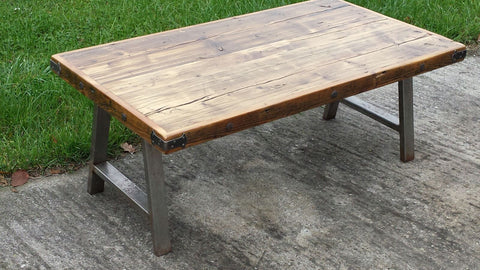 CHUNKY RUSTIC RECLAIMED COFFEE TABLE HANDMADE SOLID WOOD FARMHOUSE INDUSTRIAL