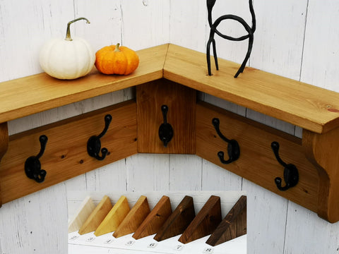 Reclaimed Wood Hat&Coat CORNER Rack with shelf Shabby Chic Rustic Jacobean wax finish 3,5,7 or 9 hook