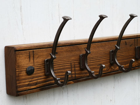 Wooden Coat Rack Rustic Vintage Victorian Cast Iron Hooks Solid Wood Handmade