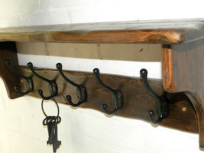 Handmade Reclaimed wood Cottage Country Vintage style Hat and Coat Rack with shelf and Black cast iron hooks