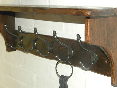 Handmade Reclaimed wood Cottage Country Vintage style Hat & Coat Rack with shelf and Acorn style hooks