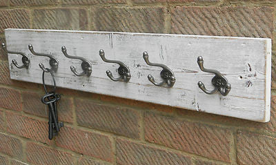 Handmade Reclaimed wood Hat and Coat Rack Rustic Shabby chic white wash with Triple hooks