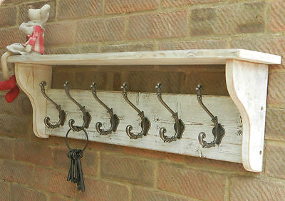 Reclaimed wood Coat & Hat Rack with shelf Shabby Chic Distressed White Wash with Ornate Decor hooks