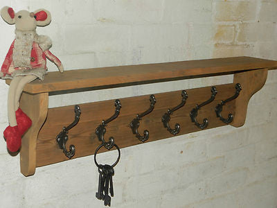 Reclaimed wood Hat and Coat Rack with shelf Rustic Shabby Eco with Ornate Decor hooks