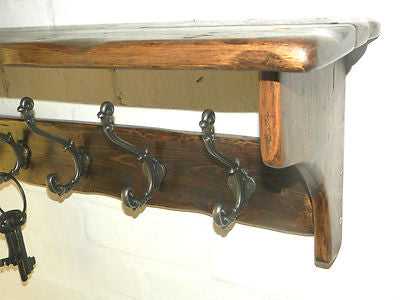 Reclaimed wood Hat & Coat Rack with shelf Cottage Country style with Ornate Decor hooks