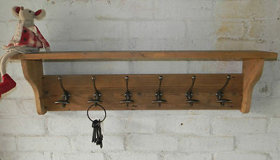 Reclaimed wood Hat and Coat Rack with shelf Rustic Shabby Eco 3,4,5,6,7,8 hooks