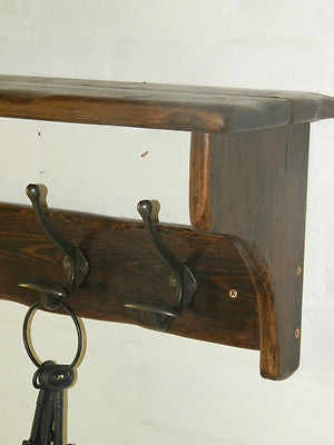 Handmade Reclaimed wood Cottage Country Vintage style Hat & Coat Rack with shelf and Wide Cast iron Hooks