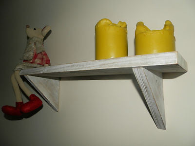 Vintage Shabby chic country style rustic distressed white wash solid wood shelf