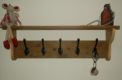 Solid wood Hat and Coat Rack with shelf Shabby Chic Rustic Eco 3,4,5,6,7,8 hooks