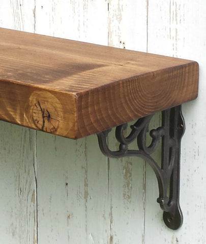 14.5 cm deep Solid Pine wood Rustic Mantel Shelf, incl. decorative shelf support brackets