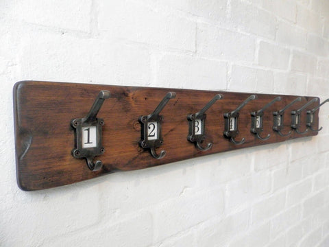 Vintage style Cloakroom School style Coat&Hat Rack with label frame hooks No 1-10