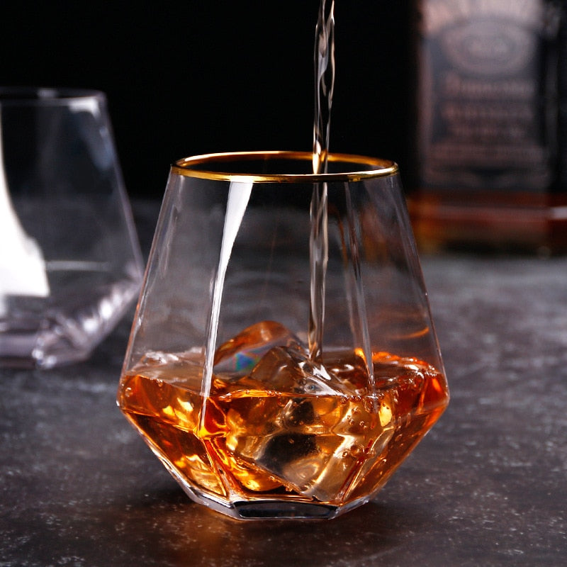 Gold-Rimmed Hexagon Whiskey Glass