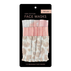 3 Pack Cotton Face Masks–Pink