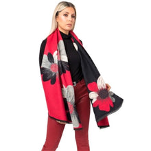 Load image into Gallery viewer, Black & Red Flower Scarf