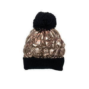 Metallic Champagne Gold Puffer Hat