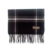 Load image into Gallery viewer, Black Plaid Cashmere Scarf