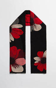 Black & Red Flower Scarf