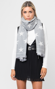 Gray Reversible Star Scarf