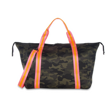 Load image into Gallery viewer, Camo Overnight Bag – Pink Stripe