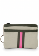 Load image into Gallery viewer, Pink & Olive Stripe Keychain Wallet