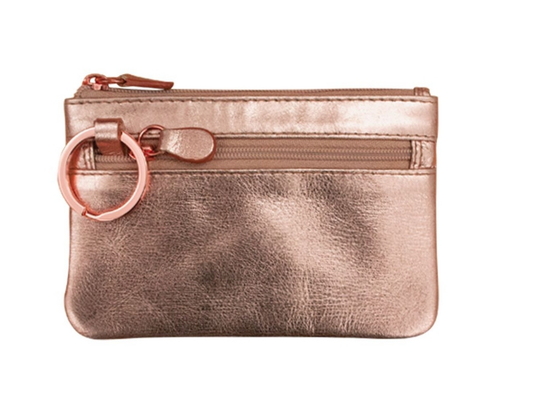 Rose Gold Leather Coin Purse