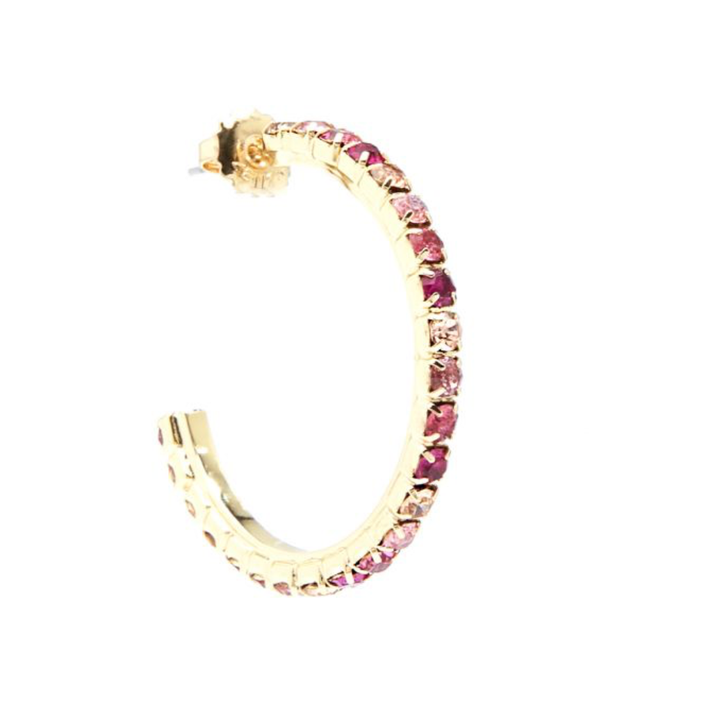 Pink Crystal Hoops
