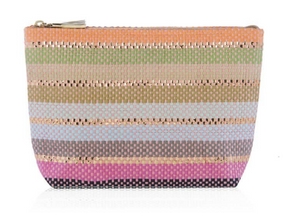 Gold Stripe Straw Clutch