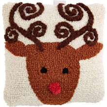 Load image into Gallery viewer, Reindeer Needlepoint Pillow
