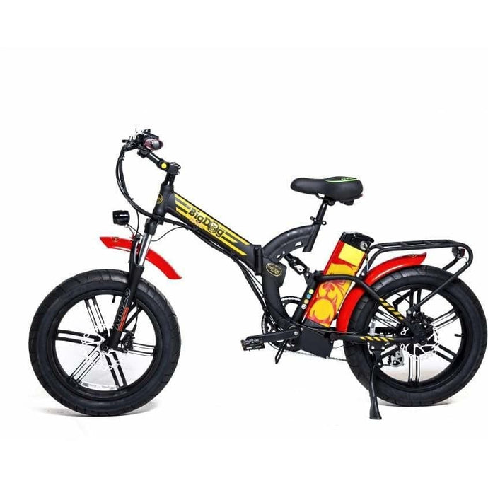 GREENBIKE ELECTRIC MOTION Big Dog Off Road, Fat Tire Folding Electric Bike - 750 Watt, 48V - electricbyke.com